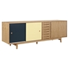 Alma 7 Drawers Sideboard - Natural with Teal Door - NYEK-224405-NT