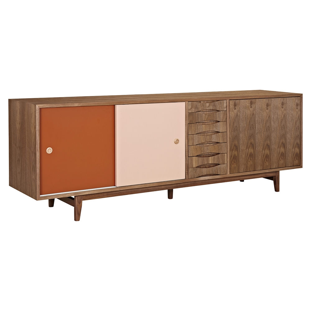 alma 2 sliding doors sideboard walnut with red door. Black Bedroom Furniture Sets. Home Design Ideas