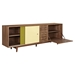 Alma 2 Sliding Doors Sideboard - Walnut with Green Door - NYEK-224407-WG