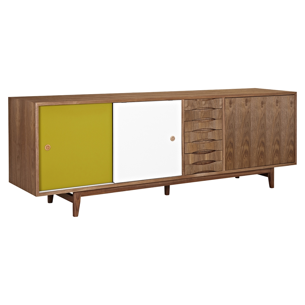 alma 2 sliding doors sideboard walnut with green door. Black Bedroom Furniture Sets. Home Design Ideas