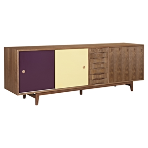 Alma 2 Sliding Doors Sideboard - Walnut with Plum Door