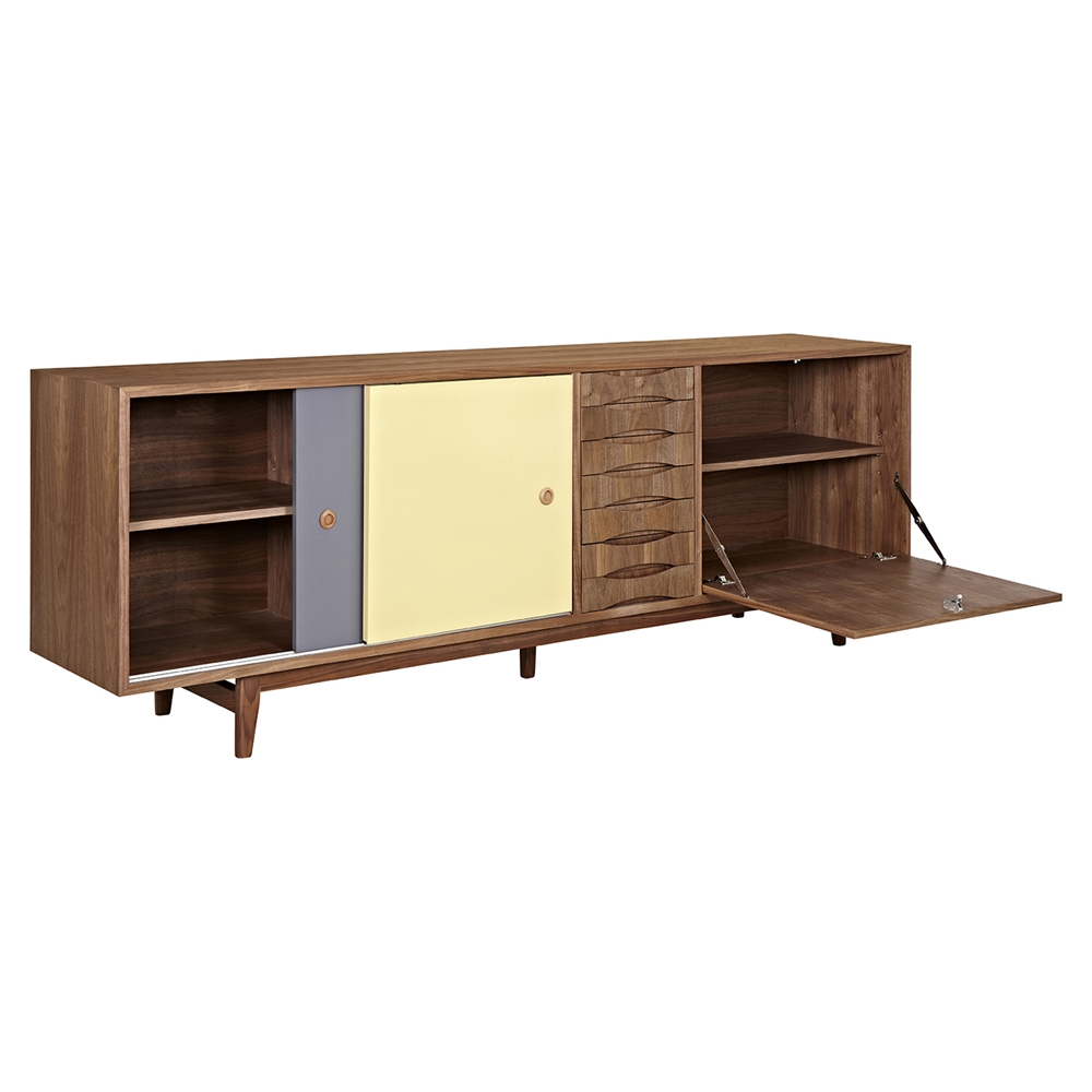 alma 2 sliding doors sideboard walnut with gray door. Black Bedroom Furniture Sets. Home Design Ideas