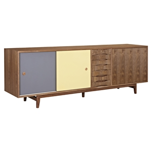 Alma 2 Sliding Doors Sideboard - Walnut with Gray Door