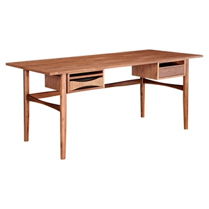 Hanna Office Desk - Walnut and Black