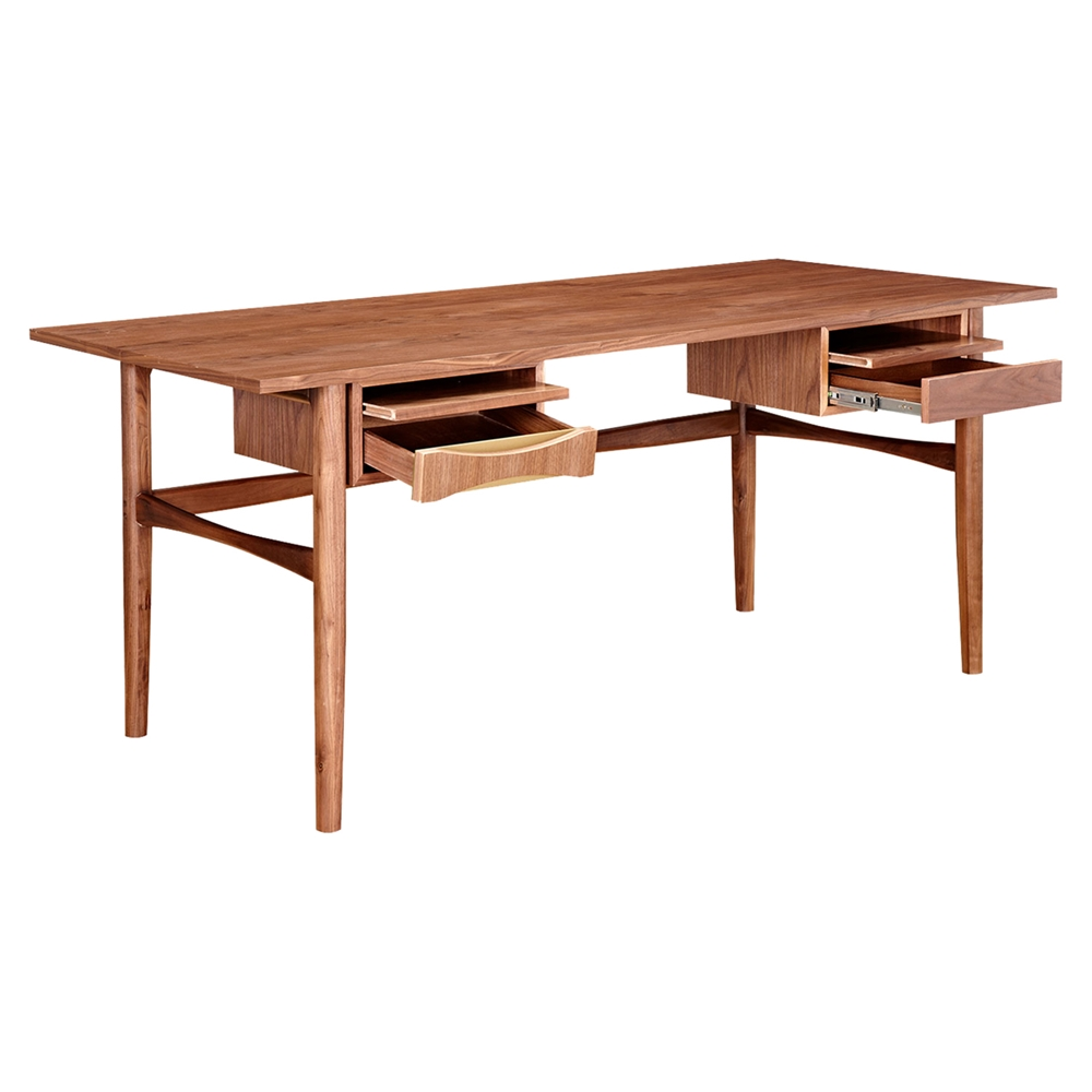 Hanna office desk walnut and metallic brass dcg stores - Walnut office desk ...