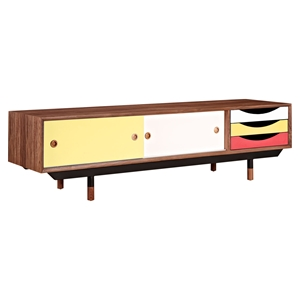 Soren Media Unit - Walnut and Red