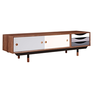 Soren Media Unit - Walnut and Gray