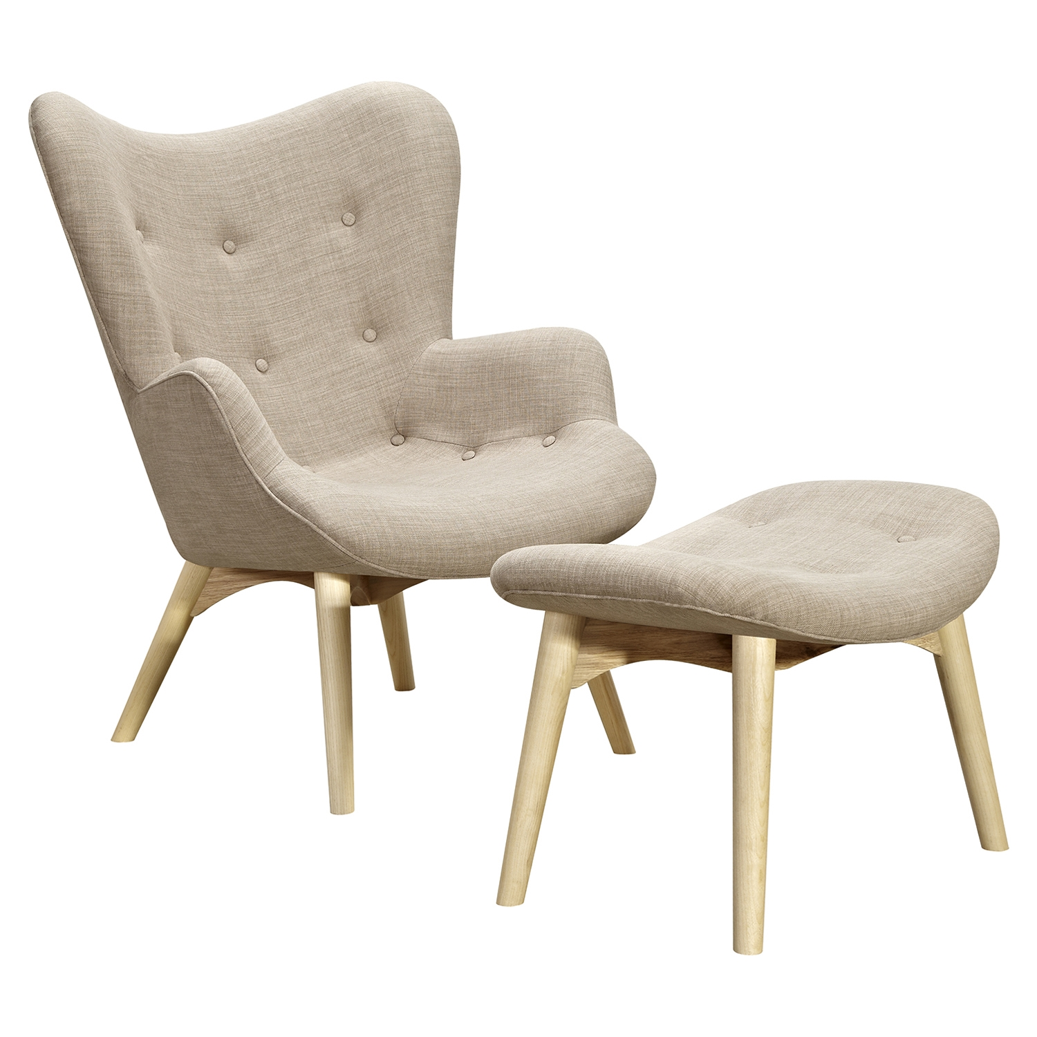 Aiden Button Tufted Upholstery Chair - Oatmeal Gray - NYEK-445559