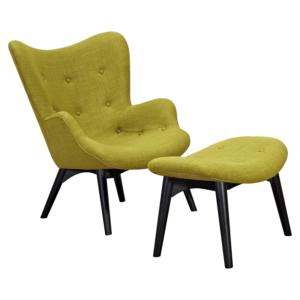 Aiden button tufted upholstery chair avocado green dcg for Button tufted chaise settee green