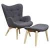 Aiden button tufted upholstery chair charcoal gray nyek 445564