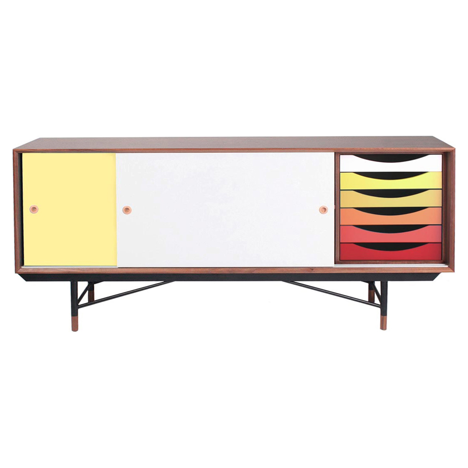 Soren Sideboard - Walnut and Yellow, Red - NYEK-445577