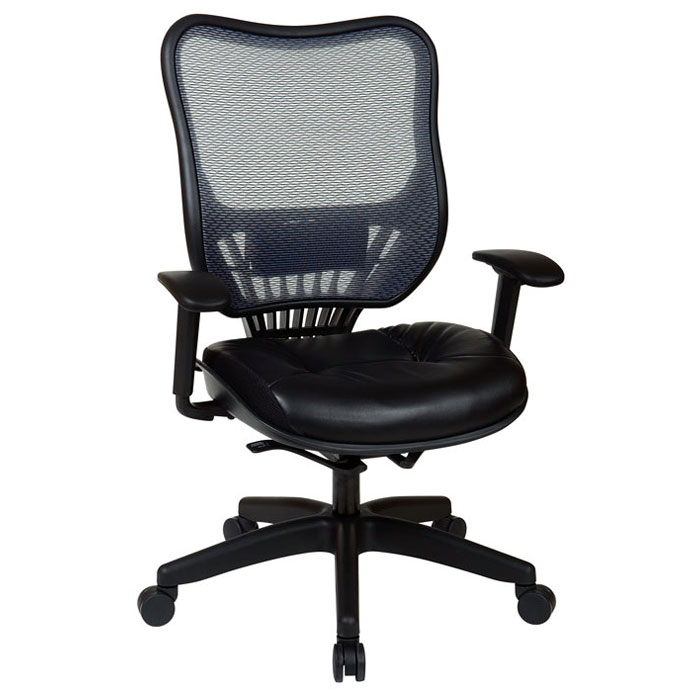 Space Seating 18 Series Light AirGrid Back and Leather Seat Executive Chair - OSP-18-46N28P
