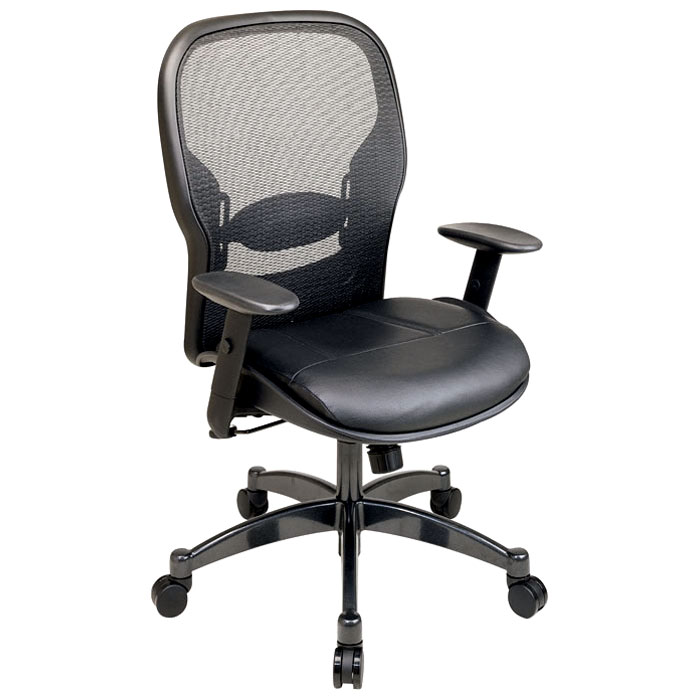 Space Seating 24 Series Professional Black Office Chair with Leather Seat - OSP-2400