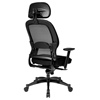 Space Seating 25 Series Professional Deluxe Black Office Chair with Adjustable Headrest - OSP-25004