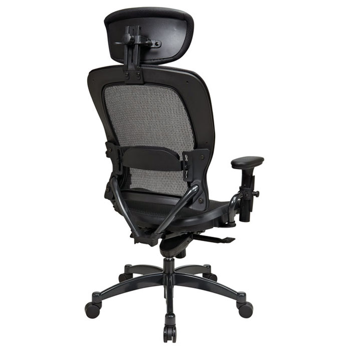 Space Seating 27 Series Professional Black Mesh Office Chair with Adjustable Headrest - OSP-27876