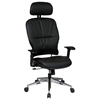 Space Seating 32 Series Black Leather 2-Way Adjustable Headrest Manager's Chair - OSP-32-44P918PHL