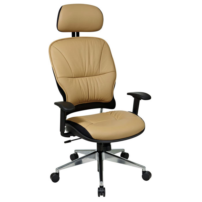 Space Seating 32 Series Taupe Leather 2-Way Adjustable Headrest Manager's Chair - OSP-32-88P918PHL