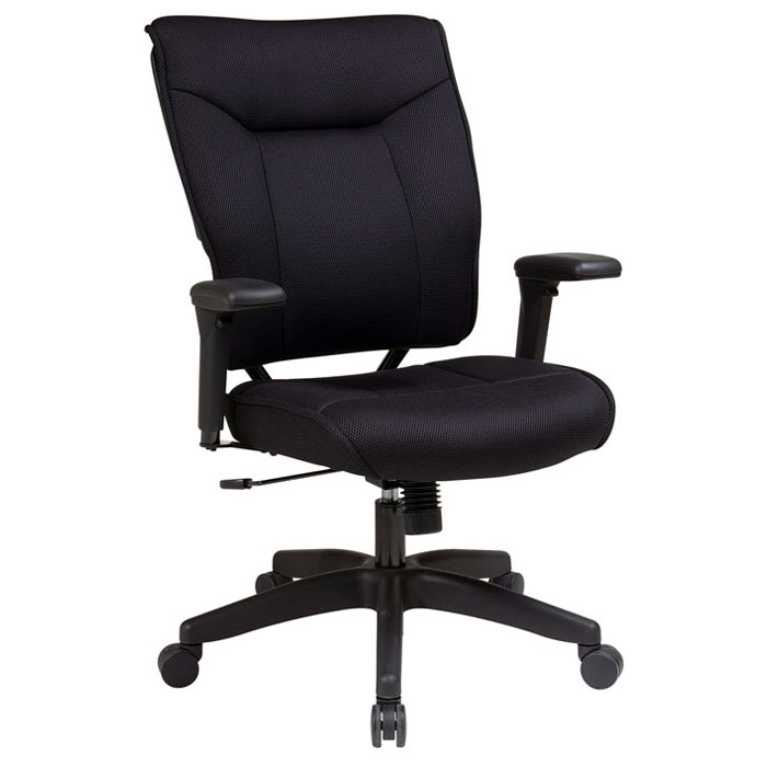 Space Seating 37 Series Professional Black Executive Chair with Nylon Base - OSP-37-33N1A7U
