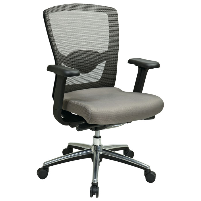 Pro Line II Gray ProGrid Back And Fabric Seat Office Chair With Adjustable Ar