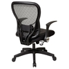 Space Seating 529 Series Deluxe R2 SpaceGrid Back with Leather Seat Office Chair - Flip Armrests - OSP-529-4R2N1F5
