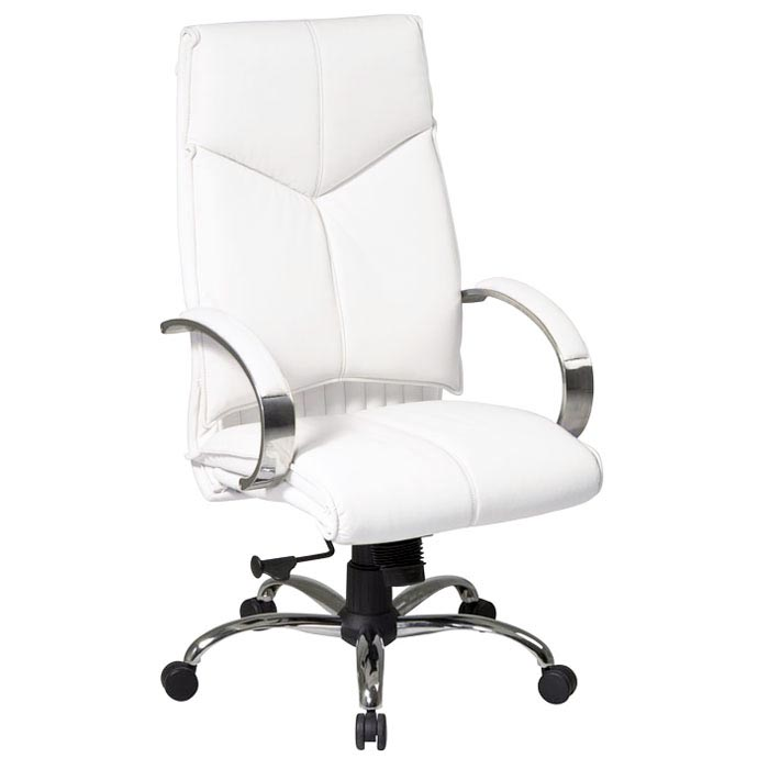 pro line ii 7270 deluxe high back white leather executive chair
