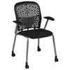 Space Seating 801 Series Deluxe SpaceFlex Platinum Frame Visitor's Chair with Casters and Armrests (Set of 2) - OSP-801-X6AC