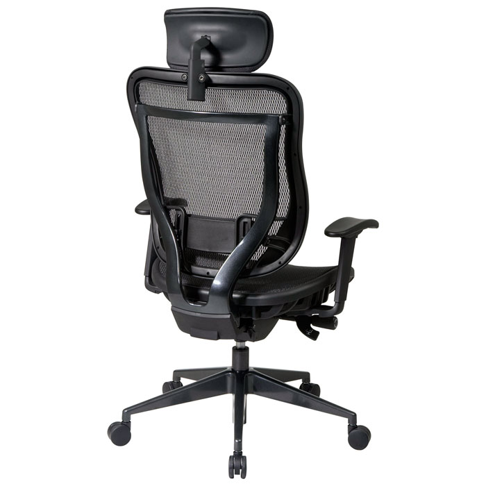 Space Seating 818 Series Executive High Back Mesh Office Chair with Adjustable Leather Headrest - OSP-818-11G9C18P-HRL818