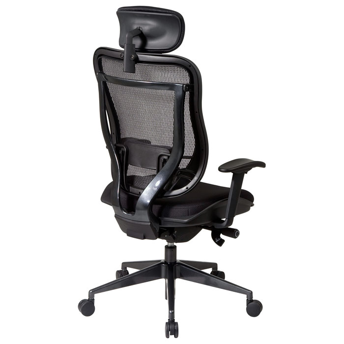 Space Seating 818 Series Executive Black Office Chair with Adjustable Headrest - OSP-818-31G9C18P-HRM818