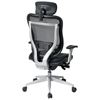 Space Seating 818 Series Executive Platinum Finished Base Office Chair with Leather Headrest - OSP-818-41R9C18R-HRL818