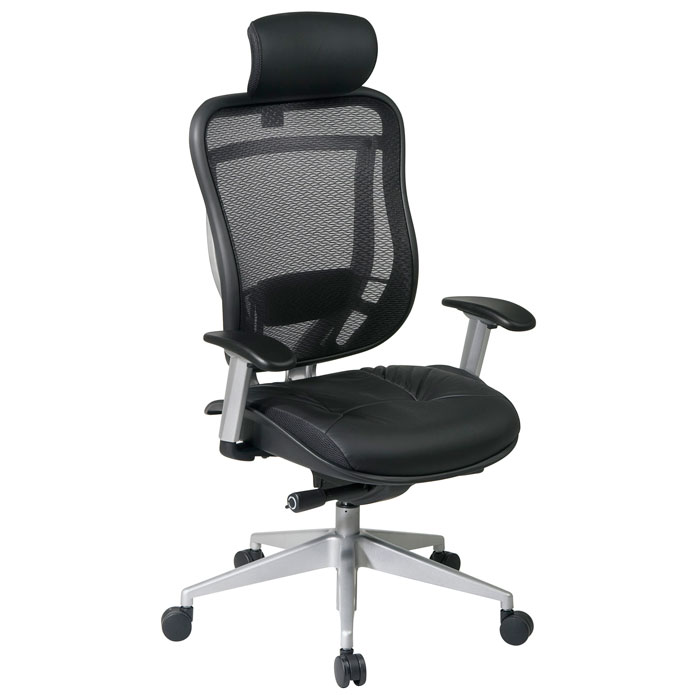 Space Seating 818 Series Executive Platinum Finished Base Office Chair with Leather Headrest