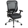 Space Seating 818A Series Executive High Back Black Office Chair with Leather Seat - OSP-818A-41P9C1A8