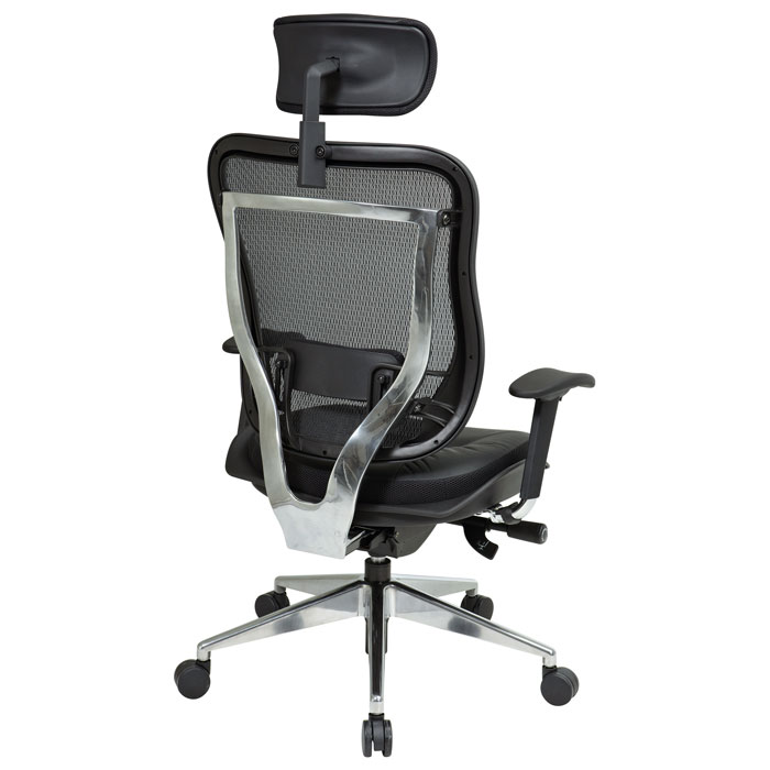 Space Seating 818A Series Executive Leather Seat and Headrest Office Chair - OSP-818A-41P9C1A8-HRL818