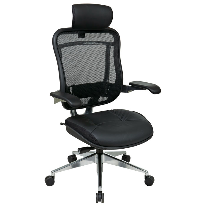 Space Seating 818A Series Executive High Back Leather Seat and Headrest Office Chair - OSP-818A-41P9C1C3-HRL818