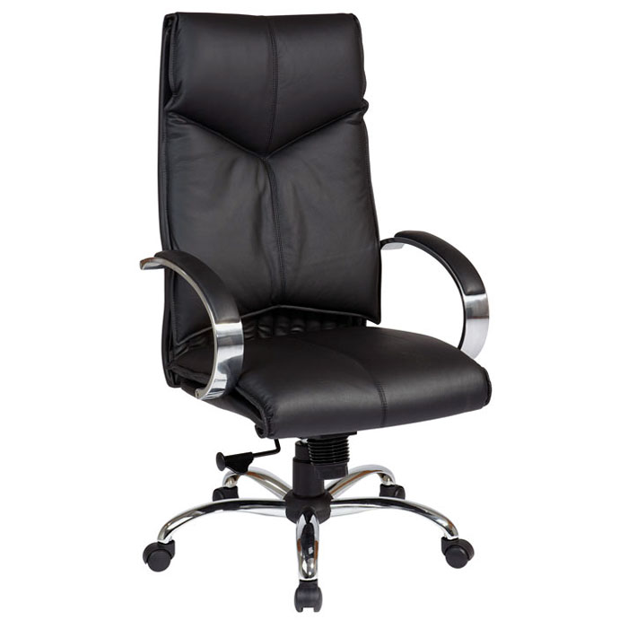 Pro-Line II 8200 - Deluxe Black Leather Executive Chair with Chrome Base - OSP-8200