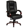 Pro-Line II 8500 - Deluxe Leather Executive Chair with Mahogany Finished Base - OSP-8500