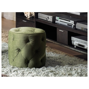 Curves Tufted Spring Green Round Ottoman