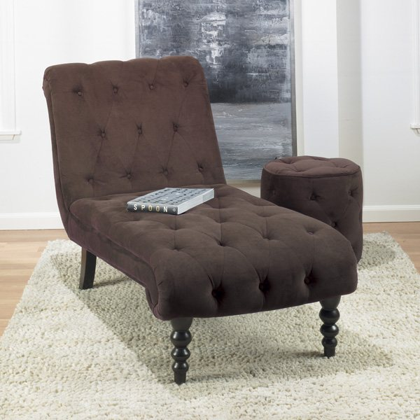 Curves Tufted Chocolate Round Ottoman - OSP-CVS905-C12
