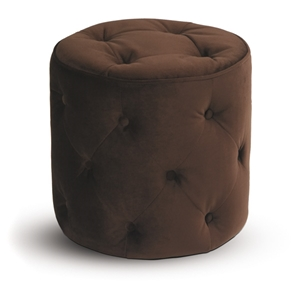 Curves Tufted Chocolate Round Ottoman