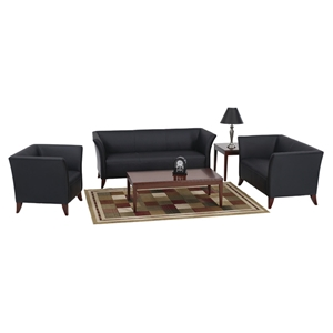 Black Leather Armchair, Loveseat, and Sofa Set with Cherry Feet