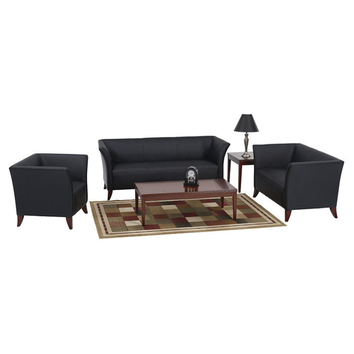Black Leather Sofa with Custom Finish Feet - OSP-SL15X3
