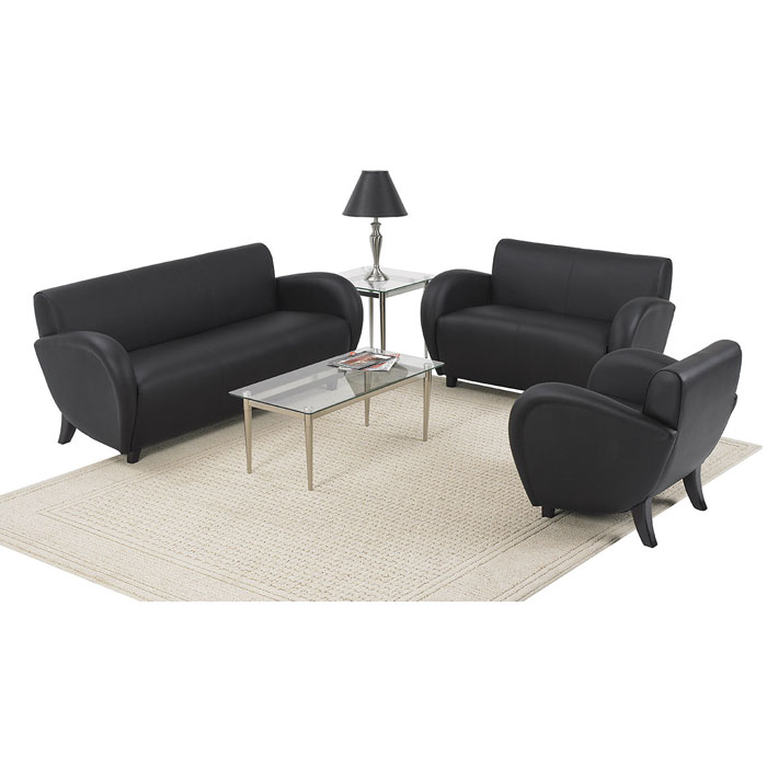 Eleganza Black Eco-Leather Sofa with Mahogany Finished Feet - OSP-SL2433EC3