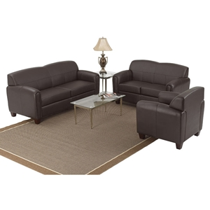 Pillar Armchair, Loveseat, and Sofa Set in Espresso
