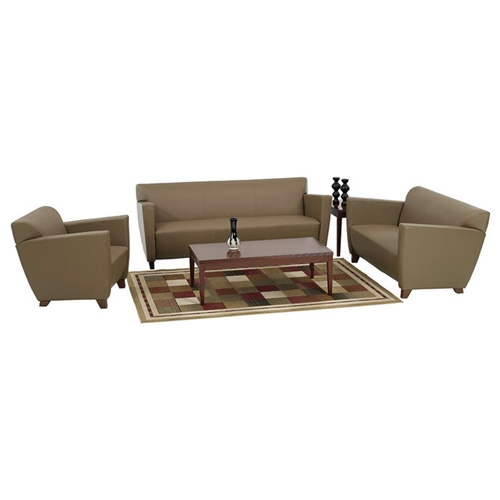 Contemporary Armchair Loveseat And Sofa Set In Taupe Leather Dcg Stores