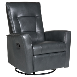 Auckland Leather Glider Recliner - Swivel, Victoria Steel