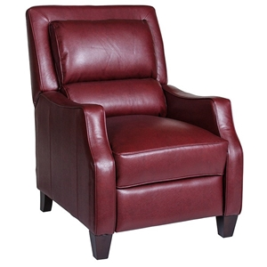 Duncan Bustle-Back Reclining Chair - Harlee Dark Red Leather