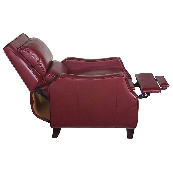 Duncan Bustle-Back Reclining Chair - Harlee Dark Red Leather - OHF-150-10HARRED
