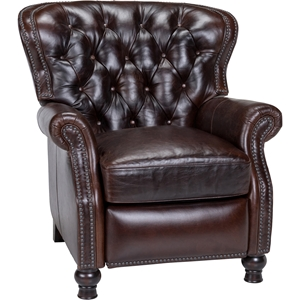 Cambridge Leather Recliner - Button Tufted, Shalimar Cocoa