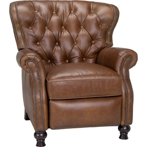 Cambridge Leather Recliner - Button Tufted, Shalimar Saddle