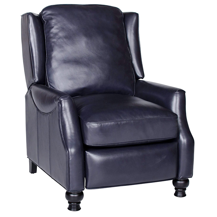 Charles Recliner Chair   Turned Feet, Baron Navy Leather    OHF 2730 10BARNVY ...