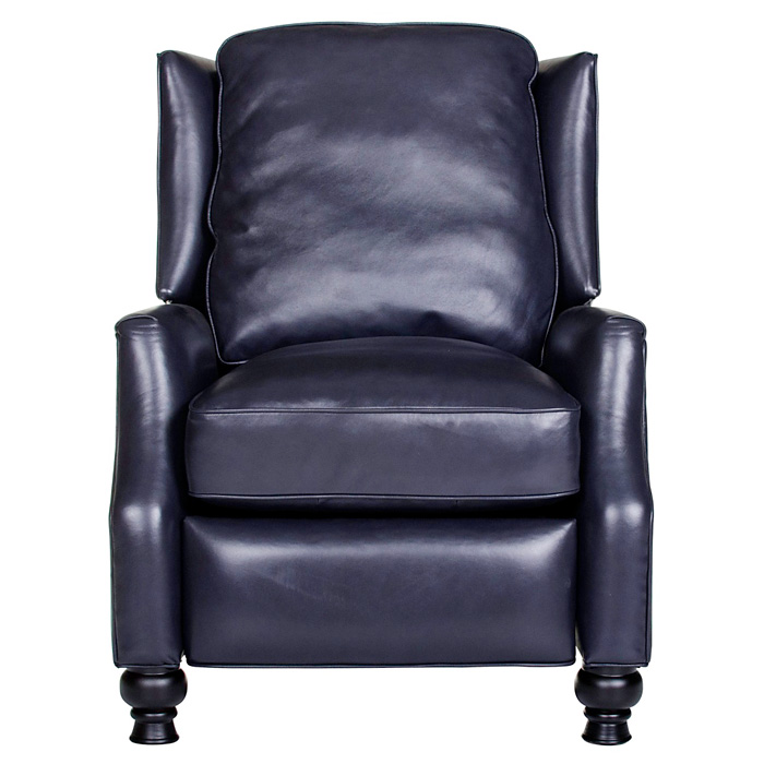 Charles Recliner Chair - Turned Feet, Baron Navy Leather - OHF-2730-10BARNVY